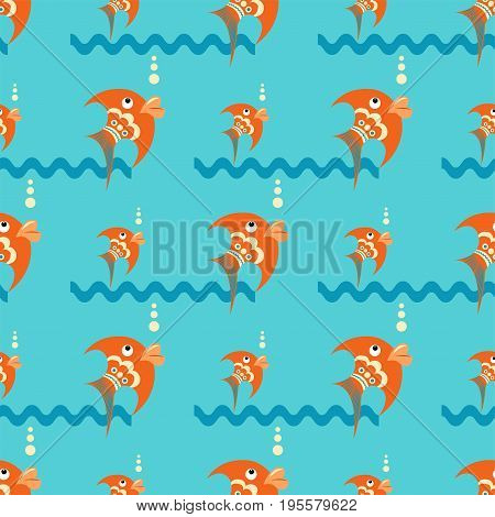 Bright orange fish on a blue background with waves and bubbles. Seamless pattern in a flat style
