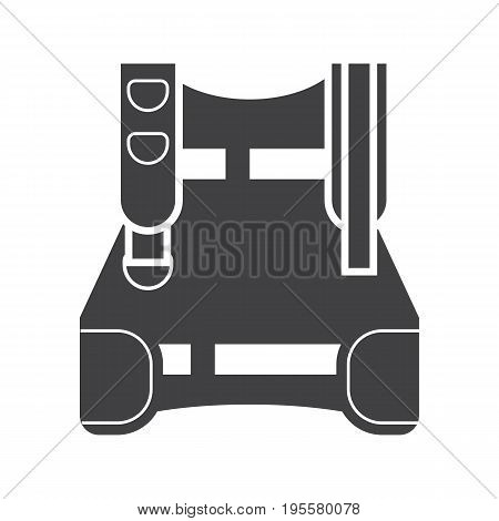 Diving weight system jacket outline icon isolated on white background. Scuba wear silhouette.
