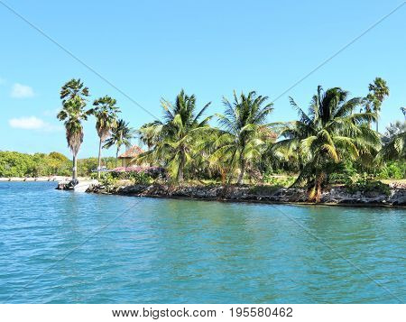 Canal waterway on the tropical island of Grand Cayman