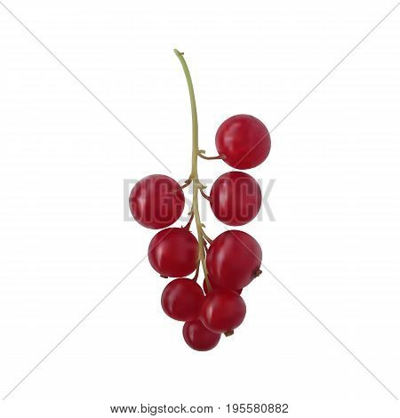 Photorealistic vector Juicy berry red currant on a green branch isolated on a white background