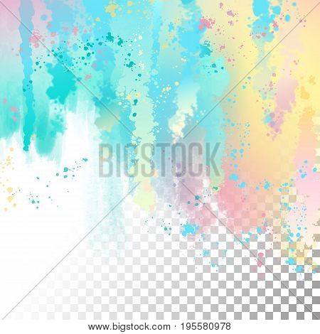 Vector watercolor border with transparent edges. Abstract background with splash, drips, stains and spots