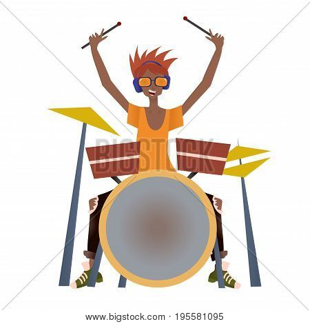 Young black man playing drum set. Drummer, percussion musician. Vector illustration, isolated on white background.