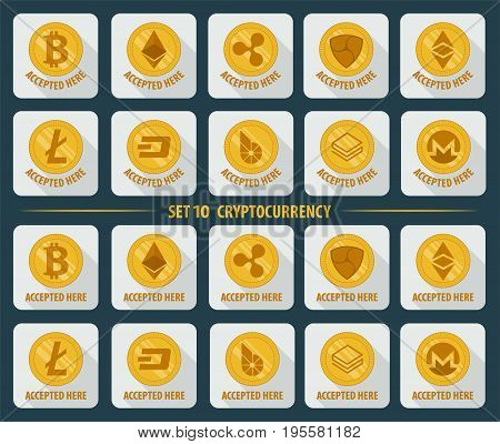 Set of 10 flat currency cryptocurrency icon on a white background