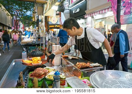 SEOUL, SOUTH KOREA - CIRCA MAY, 2017: street food stall in Seoul.