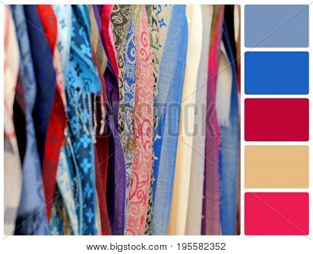 Cloth fabric as a vibrant background image. Colour palette with complimentary colour swatches