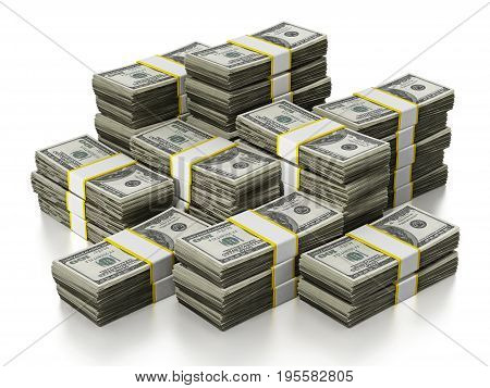 100 Dollar lots stack isolated on white background. 3D illustration.