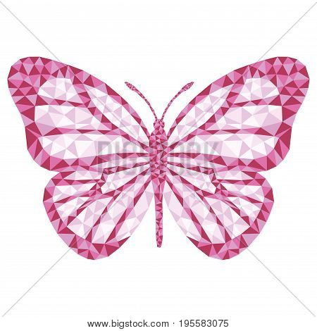 Polygonal Vector butterfly. Pink pattern isolated on white background.