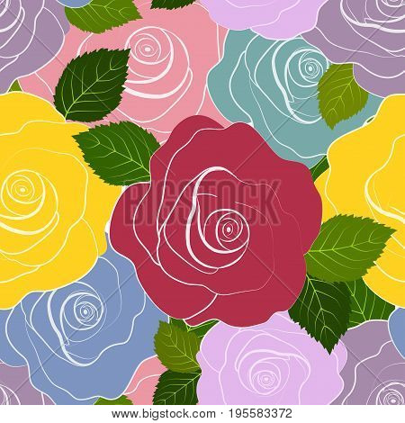 Seamless pattern abstract multi-colored roses, vector illustration