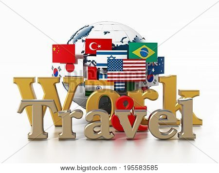 Globe flags work and travel text isolated on white background. 3D illustration.