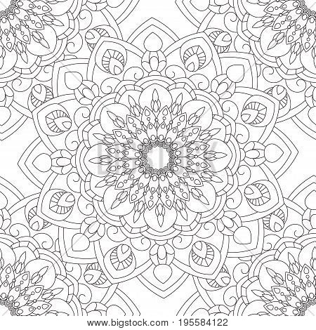 Doodles mandala seamless pattern. Adult coloring page. Black and white floral elements. Repeat pattern background. Hand drawn vector illustration.