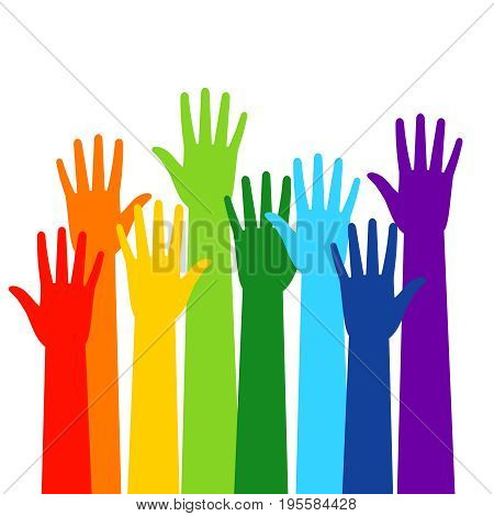 Colored volunteer crowd hands isolated on white background. Raised hand silhouettes, people colorful voting vector illustration