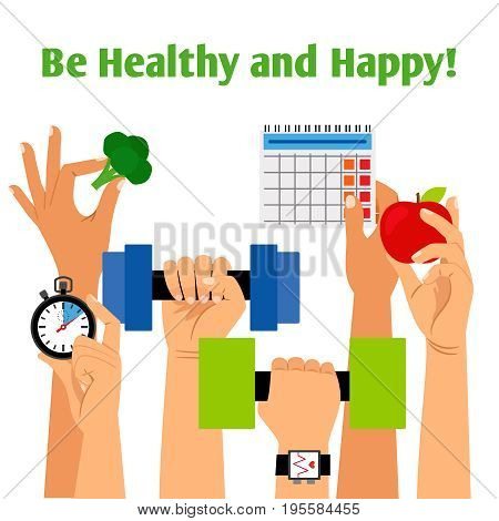 Healthy lifestyle concept with hands holding fitness, proper nutrition and daily routine symbols vector illustration