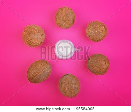A lot of exotic and tropical coconuts and fresh coco milk on a bright pink background. Top view of tropical fruit coconuts. Whole coconuts with coconut milk.