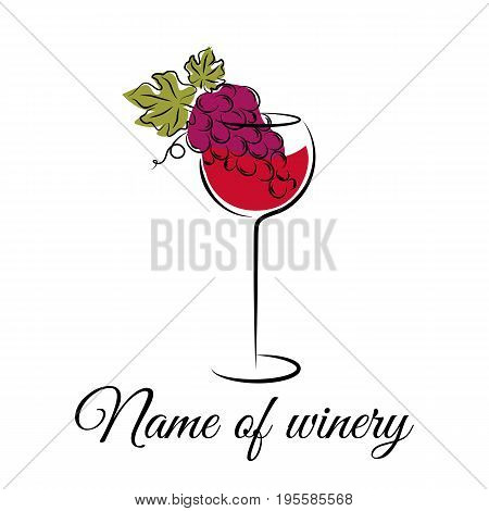 Silhouettes of wine glass and grape isolated on white. Wine concept.