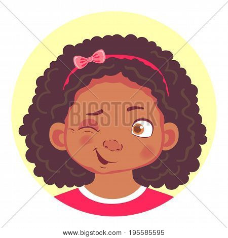 African girls emotions. Facial expression. Set of emoticons. Flat vector illustration. Wink