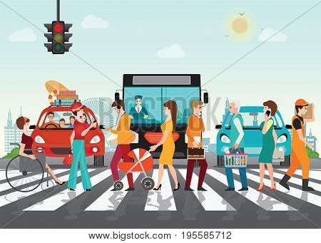 Crosswalk path on the road with cars automobile stopped before pedestrian crossing perspective view vector illustration