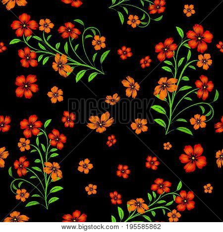 Embroidered red flowers on black background seamless pattern. Embroidered floral template with flowers for clothing design.