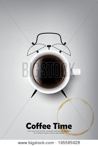 A realistic cup of black coffee and coffee cup stain with coffee clock concept , transparent vector