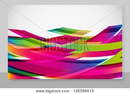 Cover copybook with abstract flying rectangles background.