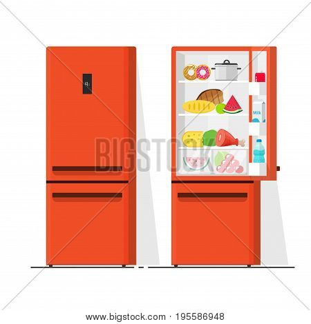 Refrigerator vector illustration, flat cartoon open and closed fridge, refrigerator full of food isolated on white