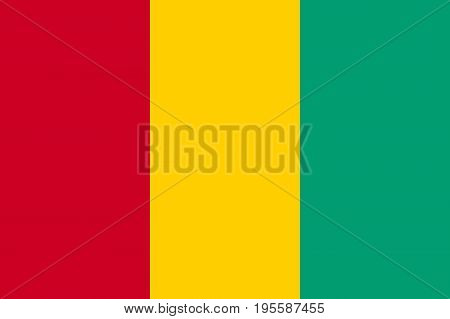 Guinea national colours, vertical tricolour of red, yellow and green, symbol of human emancipation movement and independence. Flat style vector illustration