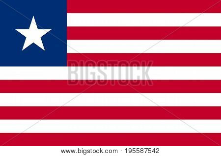 Republic of Liberia national flag, 11 red and white stripes with blue canton, white five-pointed element, name Lone Star. Flat style vector illustration
