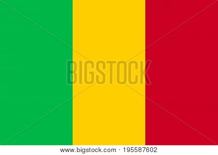 Mali national current flag, vertical tricolor of green, gold and red, bright pan-African colors, government and geography emblem. Flat style vector illustration