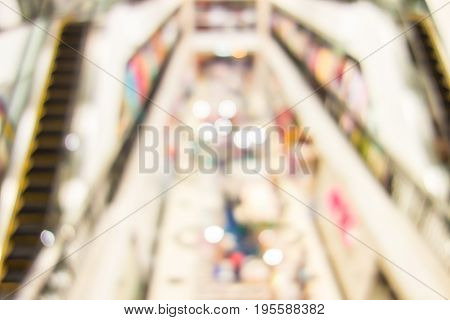 Blurred Background, People Shopping At Department Store With Bokeh Light