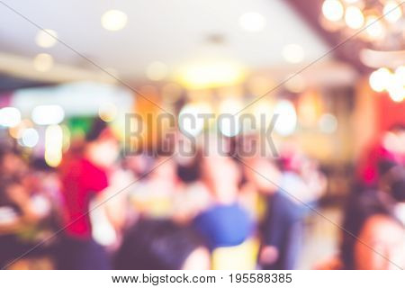 Blurred Background,customer Dinner At Restaurant With Bokeh Light,muted Vintage Filter