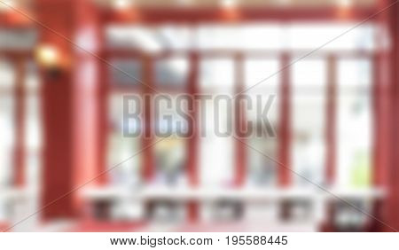 Blurred Background,window At Counter Of Restaurant With Bokeh Light
