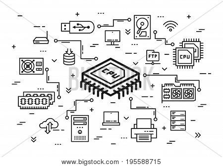 CPU chip and computer components vector illustration. Hardware elements: cpu chip keyboard ram memory hdd processor etc line art. Computer system configuration graphic design.