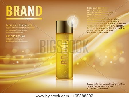 realistic Essence contained, ads, gold translucent glass bottle template. Design cosmetics product advertising, blure and bokeh background. 3d Vector illustration for cream, soups, foams, lotions.