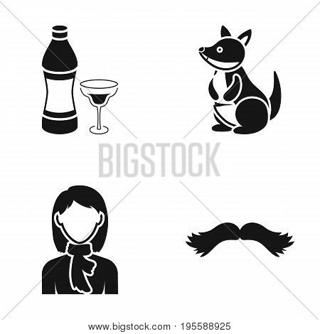 A bottle of alcohol, a kangaroo and other  icon in black style. a girl, a mustache icons in set collection.