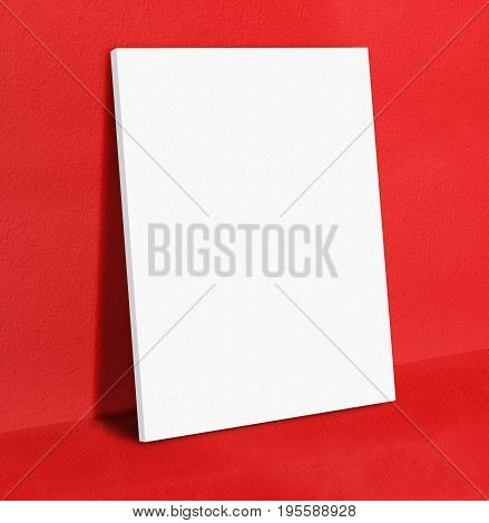 Blank White Poster Canvas Frame Leaning At Red Concrete Paint Wall And Floor, Mock Up Template For A