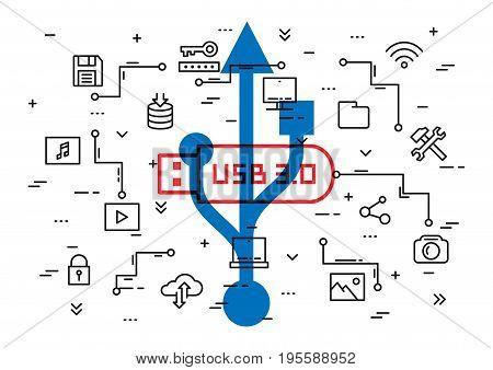 USB 3.0 technology vector illustration. Data storage elements: desktop usb flash drive cloud storage multimedia files etc line art concept.