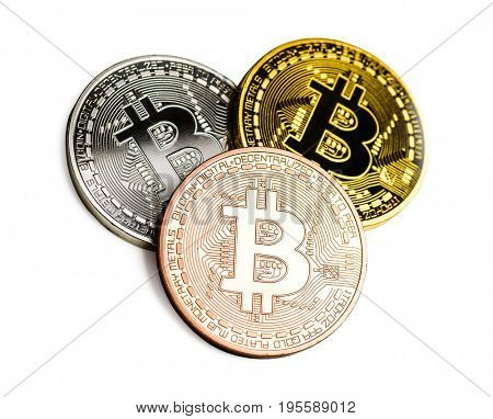 Bitcoin cyptocurrency virtual money isolated on white