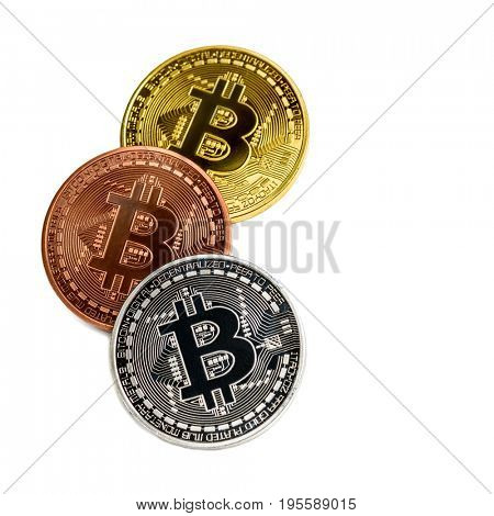 bitcoin coins on white background