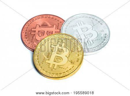Bitcoin cypto virtual money isolated on white