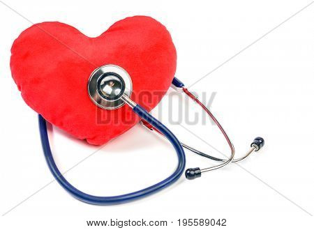 Red heart and  stethoscope over white