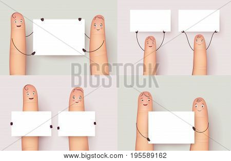 Finger set holding copyspace poster. Mock up copy space screens for your conten. Flat style vector realistic illustration isolated on white background