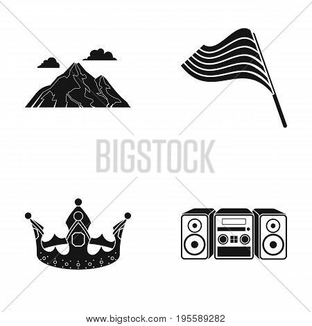 Mountain, flag and other  icon in black style. crown, music center icons in set collection.