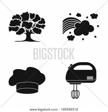 Tree, Starry sky and other  icon in black style. chef's hood, mixer icons in set collection.
