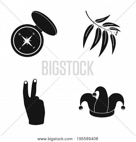 Compass, eucalyptus branch and other  icon in black style. hand gesture, fool's cap icons in set collection.