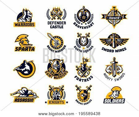 Set of logos on the sword and warrior. Viking, a knight, a Spartan soldier, killer, Paladin, a dagger. Castle, Tower, Fortress, flag. The heart, the eagle the muscles wings wreath