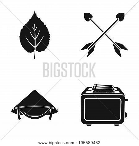 Leaf, arrows and other  icon in black style. Chinese hat, toaster icons in set collection.