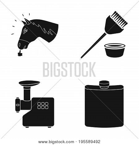 The head of a horse, a brush and other  icon in black style. a meat grinder, a jar icons in set collection.