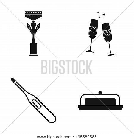 Cup, champagne and other  icon in black style. thermometer, dish with lid icons in set collection.