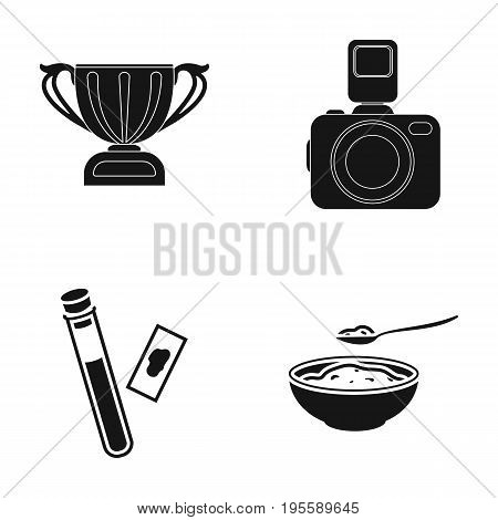 Cup, camera and other  icon in black style.blood test, a bowl of food icons in set collection.