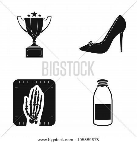 Cup, female shoes and other  icon in black style. shot of a hand, bottle icons in set collection.