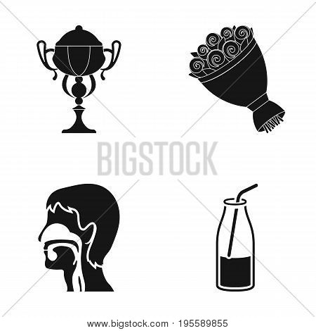 Cup, bouquet of flowers and other  icon in black style. human esophagus, drink icons in set collection.